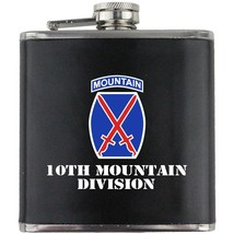 Army 10th Mountain Division Veteran Full Color Groomsman Gift Leather Wrap Flask - $19.79