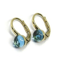 18K YELLOW GOLD LEVERBACK PENDANT EARRINGS, CABOCHON BLUE TOPAZ 6mm image 1