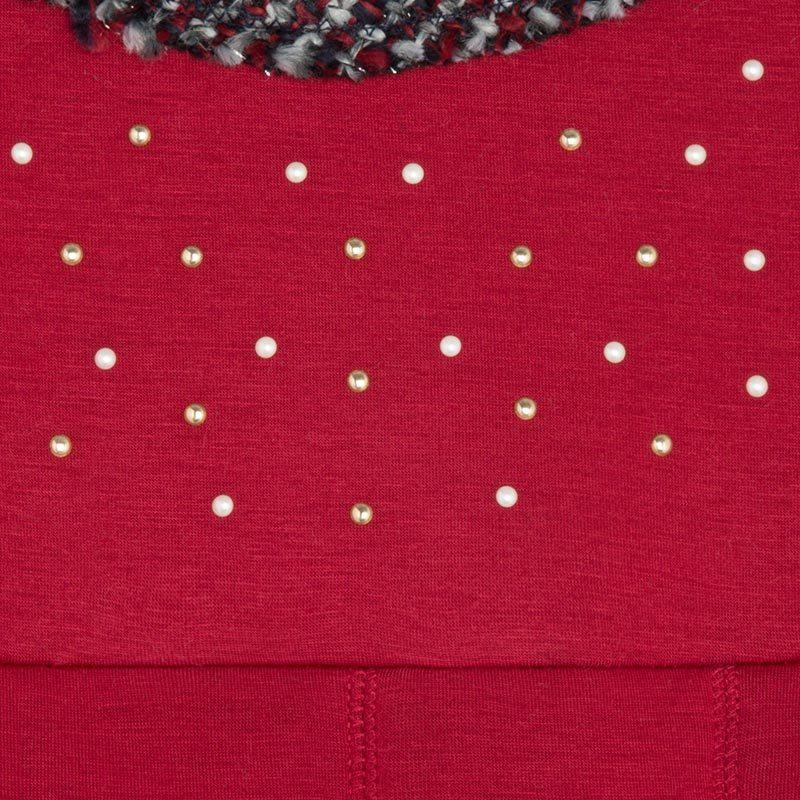 Mayoral Tween Girls 2T-9 Scarlet-Red Neoprene And Tweed Trim Social Dress