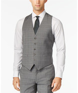 NEW MENS TOMMY HILFIGER GREY PLAID STRETCH SUIT SEPARATES DRESS VEST 38 REG - $29.69
