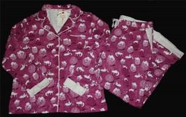 2-Pc Munki Munki Bright Pink CATS w// Names S//S Top /& Shorts Pajamas Wms L NWT