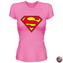 SUPERMAN JUSTICE LEAGUE CLASSIC LOGO SUPERHERO WOMEN JUNIOR FIT PINK T-SHIRT 160 image 3