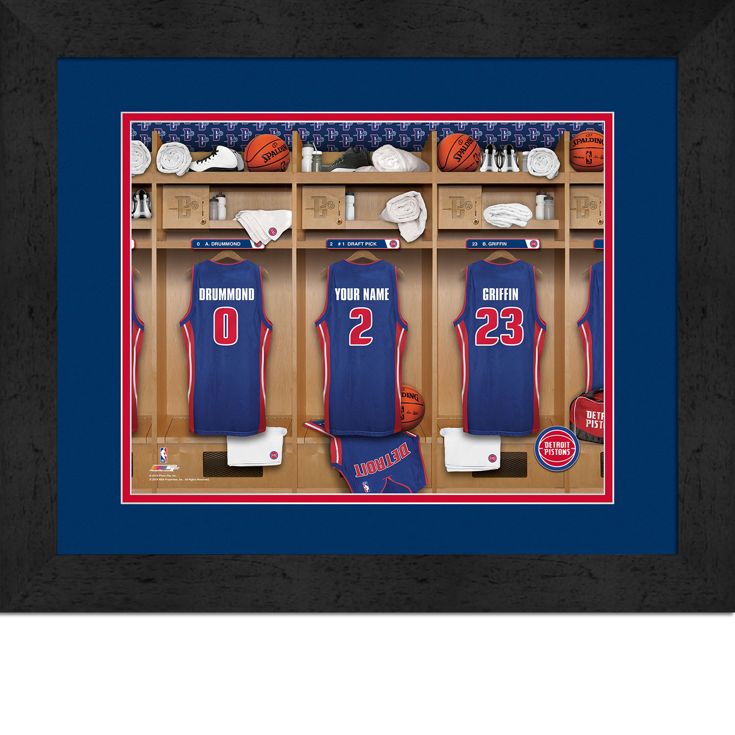Primary image for Personalized Detroit Pistons 12 x 16 Locker Room Framed Print