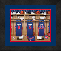 Personalized Detroit Pistons 12 x 16 Locker Room Framed Print - $63.95