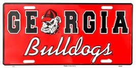 Georgia Bulldogs Red Embosed Metal License Plate Auto Tag Sign - $6.95