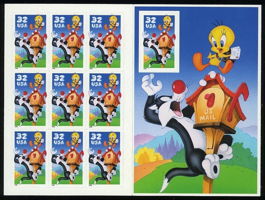 Sylvester and Tweety Full Pane of Ten 32 Cent Stamps By USPS Scott 3204