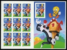 Sylvester and Tweety Full Pane of Ten 32 Cent Stamps By USPS Scott 3204 - $6.95