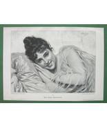 LOVELY MAIDEN Italian Girl Dreaming - VICTORIAN Era Engraving Print - $13.46