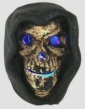 Halloween Skeleton Head Skull Cloak Hood Changing LED Lights Retired 7.... - $53.99