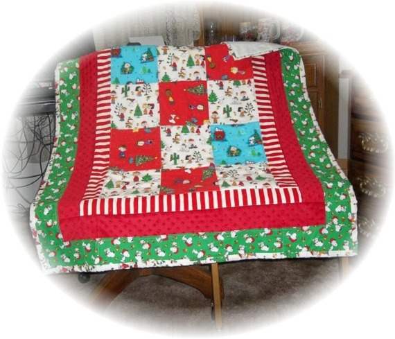 Snoopy's Vintage & New Christmas Fabric Patchwork Baby/Toddler Quilt