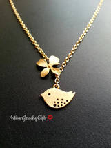 Matte Gold Skylark Bird Orchid Lariat Necklace Valentine's Day Gift Gold... - $32.00+