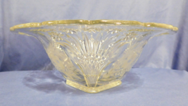 Vintage Flared Bowl Etched Flower Daisy Button Spray Corners 4 in Tall W... - $25.00
