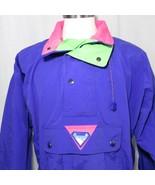 Vintage 80s Ossi Mens L Snow Ski Jacket Parka Neon Purple Green Pink - $133.61