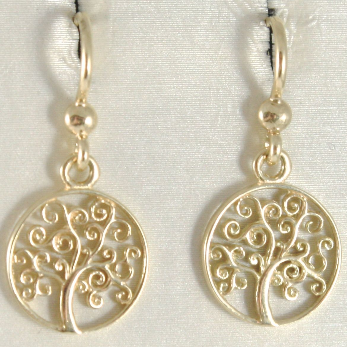 18K YELLOW GOLD PENDANT EARRINGS WITH BEAUTIFUL TREE OF LIFE, MADE IN ITALY