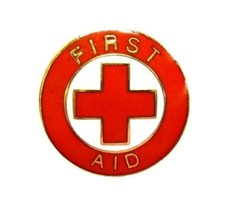 First Aid Red Cross Lapel Collar Pin Device Gold Trim Tie Tac Back 69GT New - $14.52