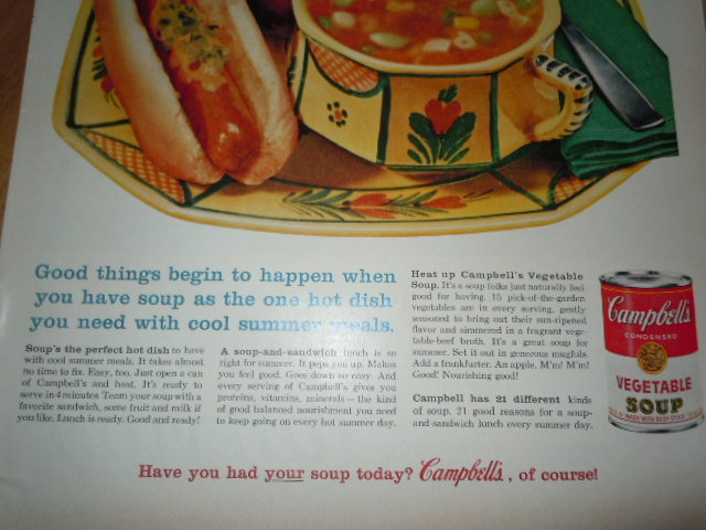 Campbell's Soup Perfect for Summer Soup'n Sandwiches Print Magazine Ad 1960 image 3