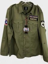 Baltimore Ravens Womens NFL Military Shirt NEW 100% Cotton Team Logo Patch XL - $41.88