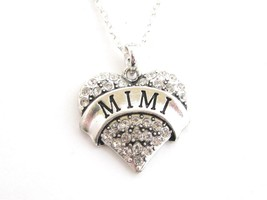 Mimi Grandma Grandmother Silver Chain Necklace Clear Rhinestone  Heart Jewelry - $14.72