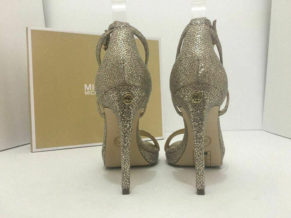 Michael Kors Simone Women Evening Platform High Heels Sandals 6.5 Silver Glitter image 4