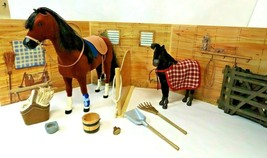 American Girl Felicity's Colonial Stable Set with Penny & Foal All Lot Retired - $242.50