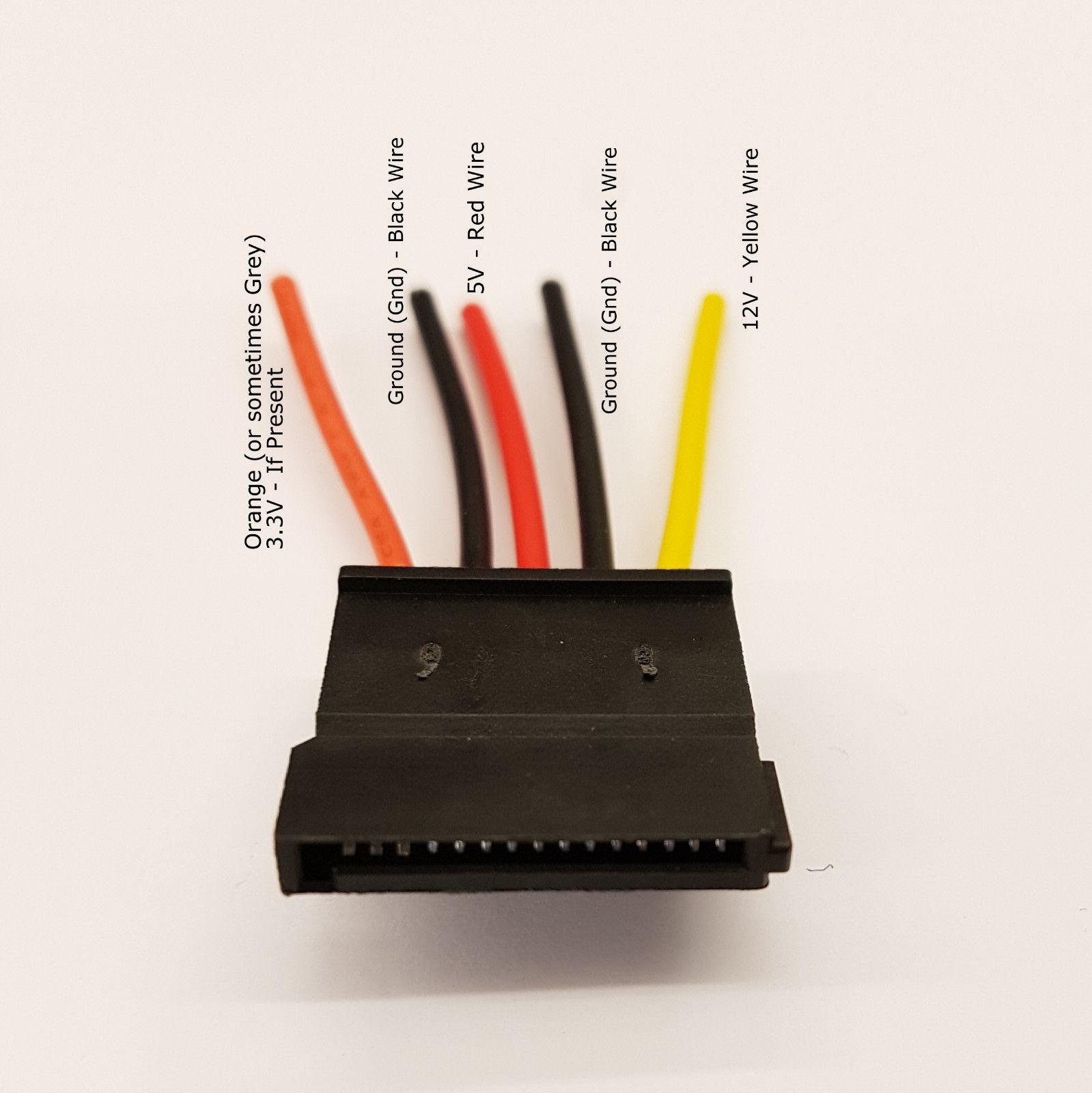 DIY STRAIGHT MALE SATA PC PSU POWER SUPPLY CONNECTOR + CAPS - PK OF 2