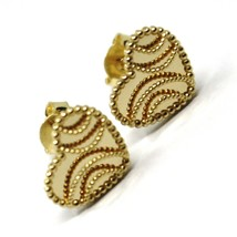 18K YELLOW GOLD BOTTON HEART EARRINGS 10 MM, DOUBLE LAYER FINELY WORKED MIRROR image 1