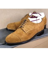 Goodyear Welted New Men's Beige Color Suede Shoes, Men's Cap Toe Lace Up... - $149.99+