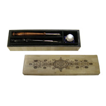 "10"" Engraved Bone Pen Box with Cobalt Inkwell, Wood Nib Pen, Black Horn ... - $59.35"