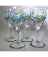 Set Of 4 hand painted liquor glasses, vintage blue flower liquor glasses... - $29.00