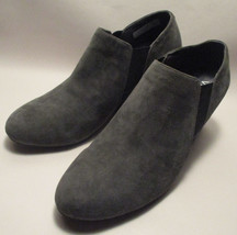 Vionic Stanton Womens 10M Gray Suede Leather Wedge Orthaheel Slip On Ank... - $57.40