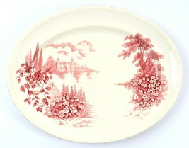 Vintage Johnson Brothers Oval Serving Platter, Castle on the Lake, Red P... - £19.93 GBP
