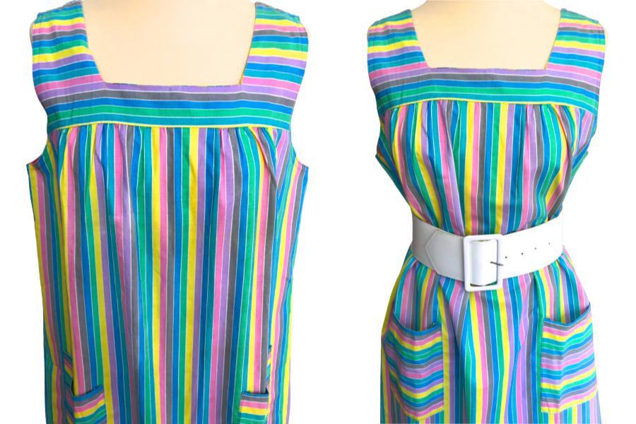60s/70s French Vintage Candy Pastel Stripe Cotton Sun Dress, Blue, Green, Pink,  image 3