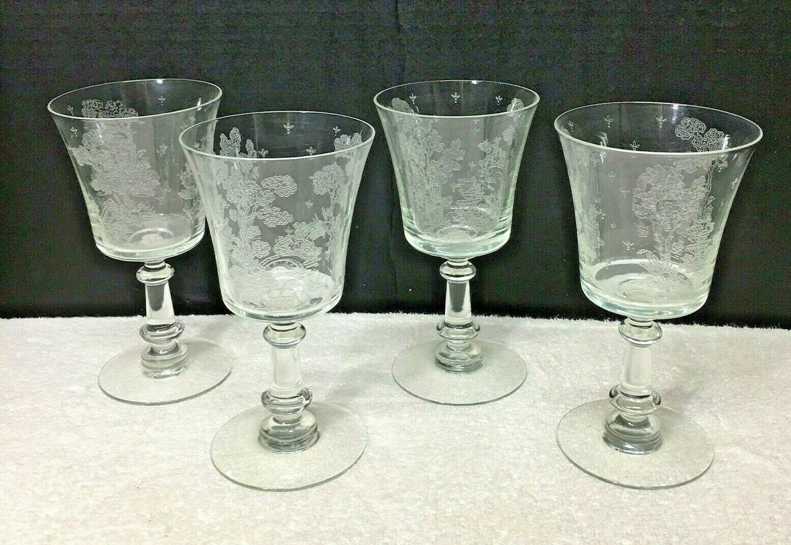 Fostoria Willow Water Wine Glasses Set of 4 6 1/4 Inches Made 1939-1944 - $64.35