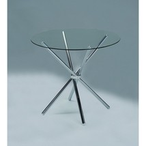 Modern Kitchen Round Glass Dining Table Chrome Legs Furniture - $140.72