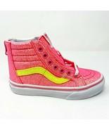 Vans Sk8 Hi Zip (Neon Glitter) Pink True White Kids Sneakers - $47.95