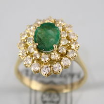 18K YELLOW GOLD 750 RING WITH DIAMONDS AND GREEN EMERALD, FLOWER MADE IN ITALY image 4