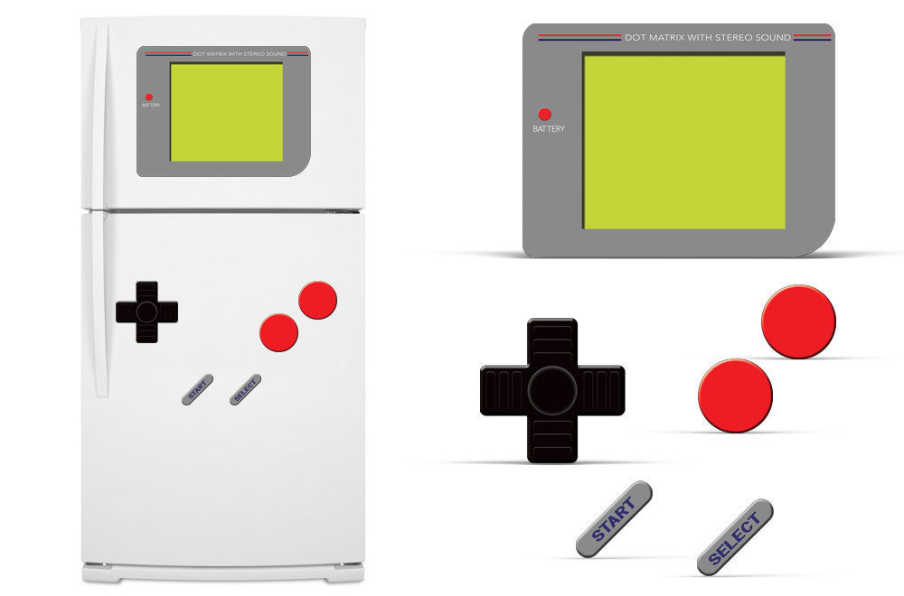 Primary image for Dry Erase Refrigerator Vinyl Gamer Decal Funny Fridge Vintage Stickers GAME BOY
