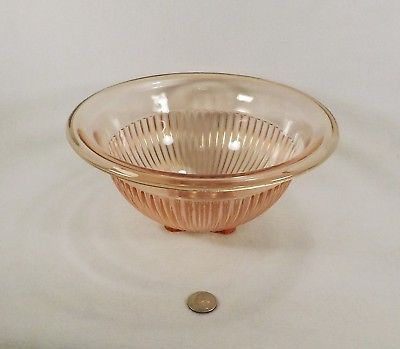 Primary image for Vintage Hazel Atlas Pink Pillar Ribbed Mixing Bowl Rolled Edge 9 3/4""
