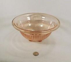 """Vintage Hazel Atlas Pink Pillar Ribbed Mixing Bowl Rolled Edge 9 3/4"""" - $19.95"""