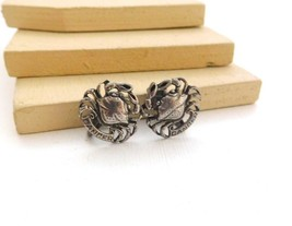 Vintage Silver Tone Zodiac Cancer Crab Astrology Clip On Earrings J30 - $13.59