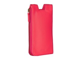 Fossil Phone Slide Leather Wallet  Zippered NWT Neon Coral iPhone 6/6s New - $39.74