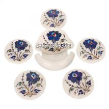 White Marble Coaster Set Mosaic Lapis Lazuli Floral Work Arts Inlay Decor Gifts - $150.68