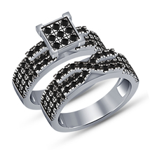 Round Diamond Engagement Wedding Bridal Ring Set White Gold Finish 925 Silver - $91.99