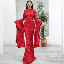 New Arrival Top Quality ONeck Flare Long Sleeve Celebrity Red Party Dress image 1
