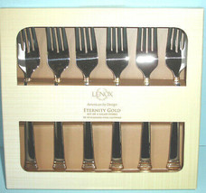 Lenox Eternity Gold Set of 6 Salad Dessert Forks Stainless Flatware New in Box - $45.90