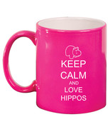 11oz Ceramic Coffee Tea Mug Glass Cup Keep Calm and Love Hippos - $14.99