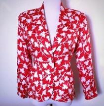 Anne Klein II Silk Red & White Floral Print One Front Button Pockets Bla... - $23.76