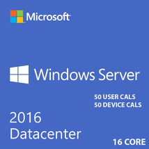 Microsoft Windows Server 2016 Datacenter 16 core With 50 User Cals + 50 ... - $379.22