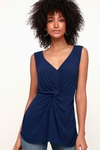 Be Cool! Navy Blue Knotted Front Tank Top twin side-slit  - XS Amazing Fit! - $25.00