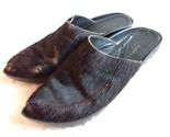 Robert Clergerie Sz 9 B Womans Calf Hair Slides Closed Pointed Toe Shoe Brown